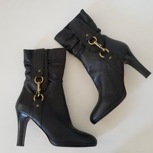 Coach Torree Black Leather Boots size 9.5